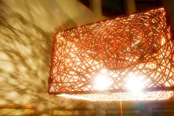ラタンツイストスクエアシーリング2灯タイプ(ブラウン)