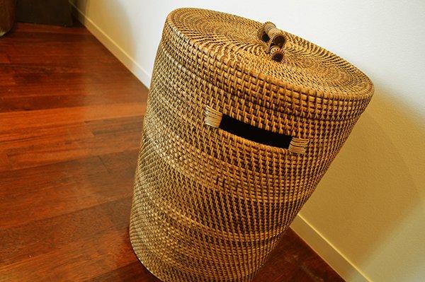 【8月中旬入荷予定】ロンボク島のラタン編込みバスケット(蓋付・特大サイズ)