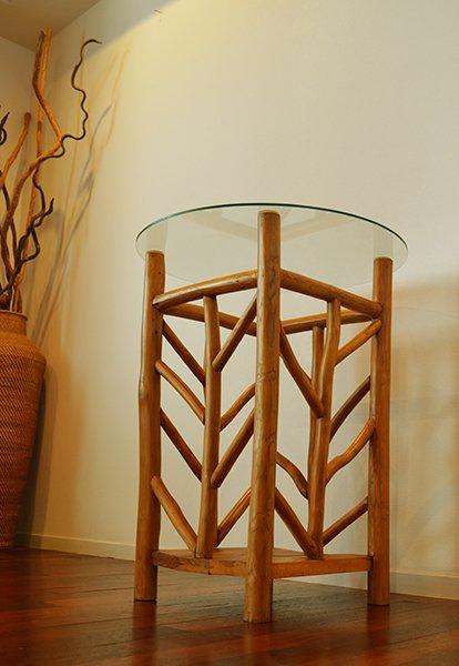 AR根のガラストップのカフェテーブル(ナチュラル)