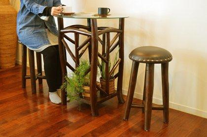 ARカフェテーブルSET ダークブラウン(テーブル1台 スツール2脚)