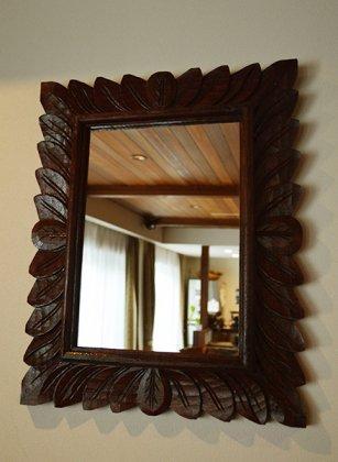 【11下旬入荷予定】バリ島のリーフ彫刻ミラー