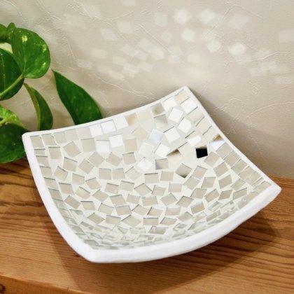 モザイクガラスのトレイ(ホワイトミラー)