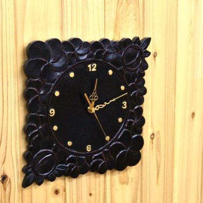 【7月中旬入荷予定】プルメリア彫刻壁掛け時計