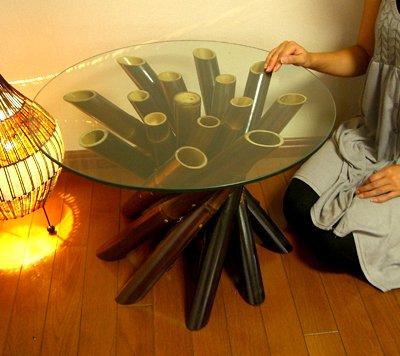 【8月中旬入荷予定】ブラックバンブーロールガラステーブル(M)