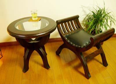 CAラウンドガラステーブルとカルティニチェアSサイズクッション付SET