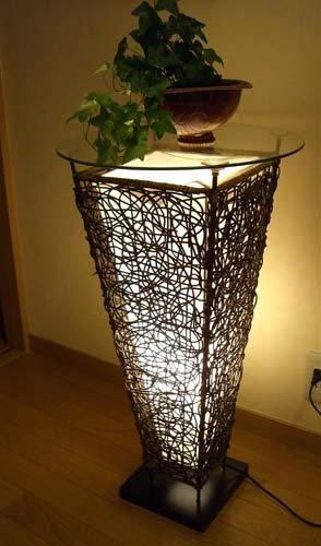 ラタンツイスト ガラスサイドテーブル ランプ
