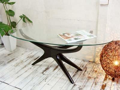 チーク アスターガラステーブル