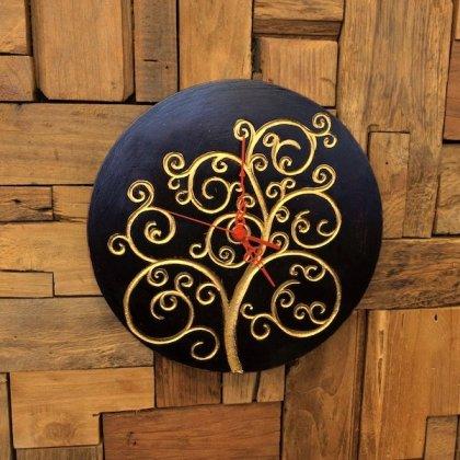 ジャワツリー壁掛け時計(ブラウン)