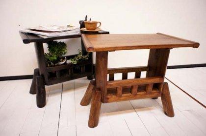 【9月下旬入荷予定】チーク材 ナチュラル マガジンラック テーブル