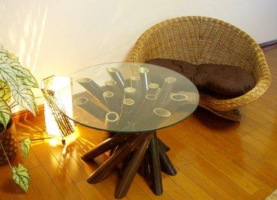 【8月中旬入荷予定】メディケーションチェアナチュラル シングル&バンブーガラステーブルセット
