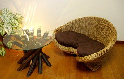 【7月中旬入荷予定】メディケーションチェアナチュラル シングル&バンブーガラステーブルセット