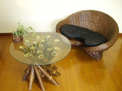 【8月中旬入荷予定】メディケーションチェアブラウンシングル&バンブーガラステーブルセット