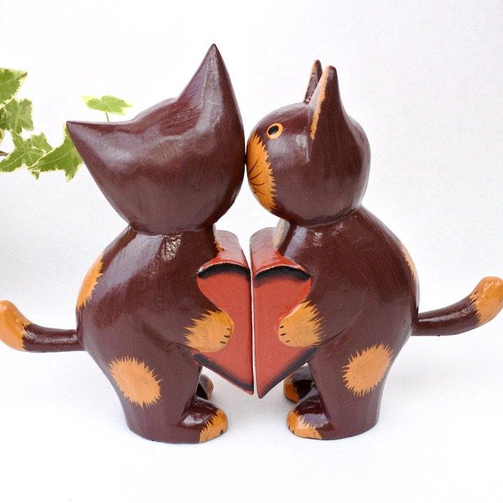ハートペアネコ 赤茶