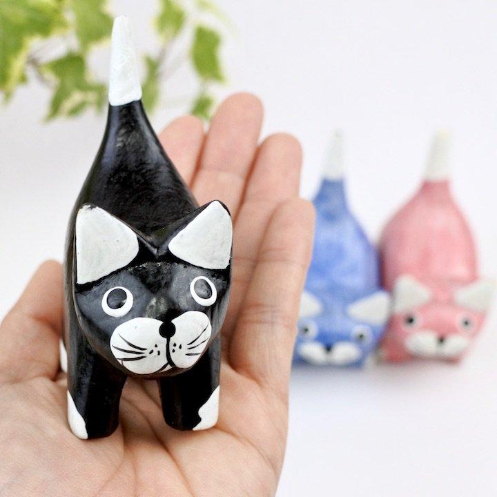 ミニぽちゃネコ(黒・白・ブルー・ピンク)