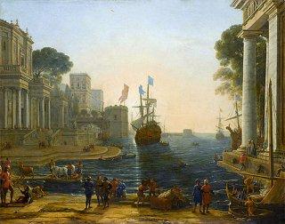 クリュセイスを父親のもとに返すオデュッセウスのいる港の風景