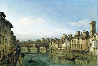 フィレンツェのアルノ川とポンテ・ヴェッキオ
