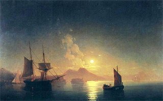 月夜のヴェスヴィオ山