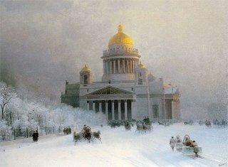 霜の下りた日の聖イサク大聖堂:サンクト・ペテルブルク