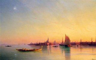 ヴェネツィアの礁湖の日没