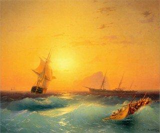 ジブラルタルを出航するアメリカ船