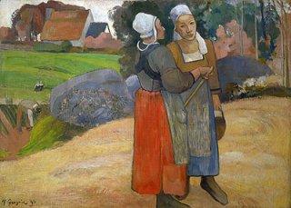 路上に立つ二人のブルターニュ女