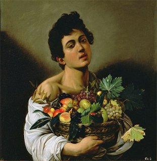 果物籠を持つ少年