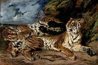 母虎と戯れる若い虎