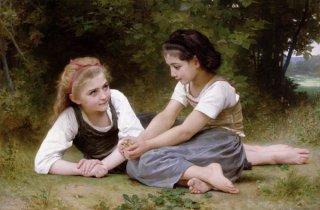 木の実を集める少女達