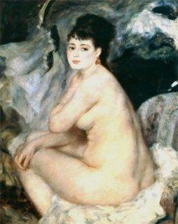 ソファに腰掛けた裸婦