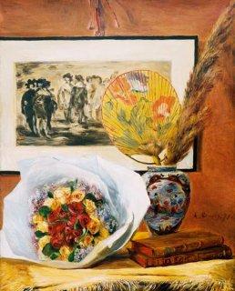花束と扇のある静物画