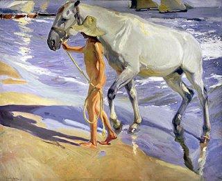 馬の水浴び
