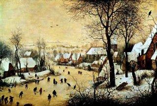 鳥罠のある冬景色  原画同寸