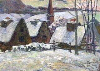 雪景色のブルターニュの村
