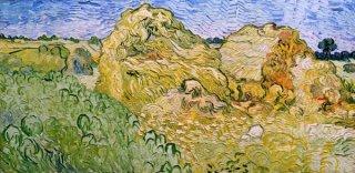 小麦の積み藁のある畑