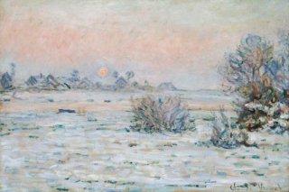 冬の太陽、ラヴァクール(黄昏時の雪景色)