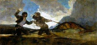 棍棒で殴り合う二人の男