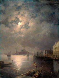 ゴンドラでの遊覧、月夜のヴェネツィア