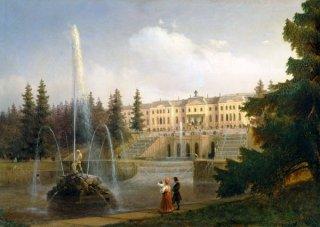 ペテルホーフ、宮殿とグレイト・カスケードの眺め  原画同寸