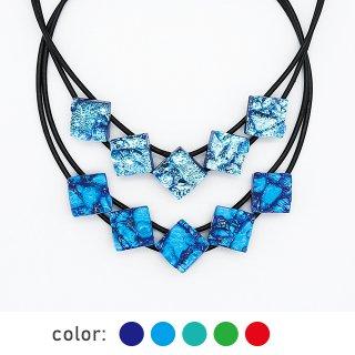 [Reflect] ネックレス(ガラス5連・革紐タイプ)