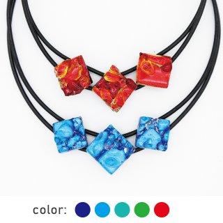[Reflect] ネックレス(ガラス3連・革紐タイプ)全5色