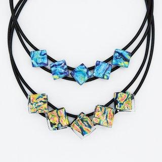 [Ripple] ネックレス(ガラス5連・革紐タイプ)