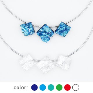 [Reflect] ネックレス(ガラス3連・ワイヤータイプ) (全6色) 母の日限定ギフトBOX付き