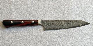 加藤義実 ペティ130� 墨流し  Yoshimi Kato Suminagashi petty 130mm with red black plywood handle