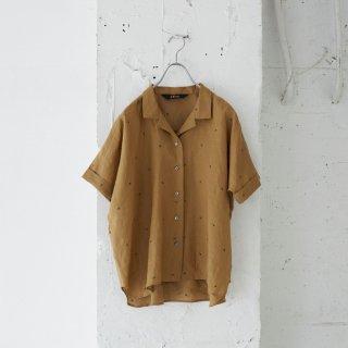 dot embroidered linen-shirt