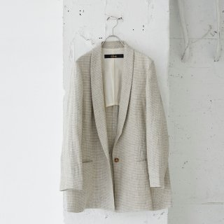 linen/silk houndstooth check-jacket