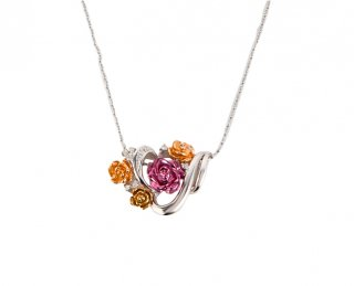 日本初 紫色の18金 K18ホワイトゴールド・K18パープルゴールド・K18ピンクゴールド・K18イエローゴールドダイヤモンド入りペンダントネックレス