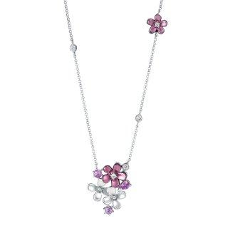 日本初 紫色の18金 K18ホワイトゴールド・パープルゴールドピンクサファイア入りダイヤモンドネックレス