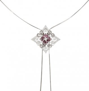 日本初 紫色の18金 K18ホワイトゴールド・パープルゴールドダイヤモンドペンダントネックレス