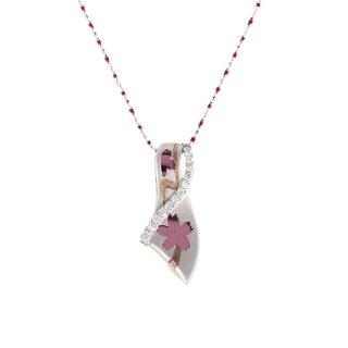 日本初 紫色の18金 K18ホワイトゴールド・パープルゴールド・ピンクゴールドダイヤモンドペンダントネックレス