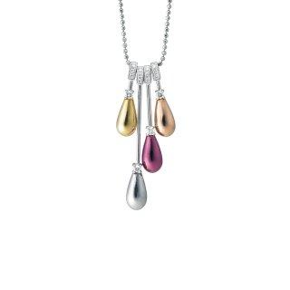 日本初 紫色の18金 4色のカラーゴールド(K18)ダイヤモンドペンダントネックレス